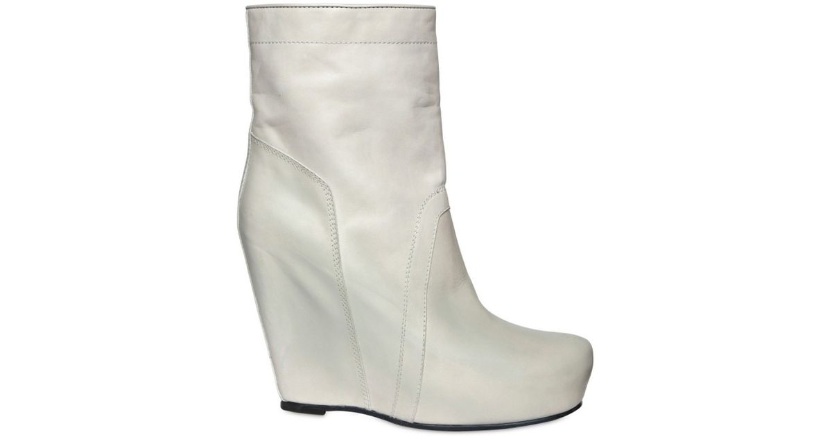 2ad0cde35085 Lyst - Rick Owens 130mm Leather Pull On Boot Wedges in White