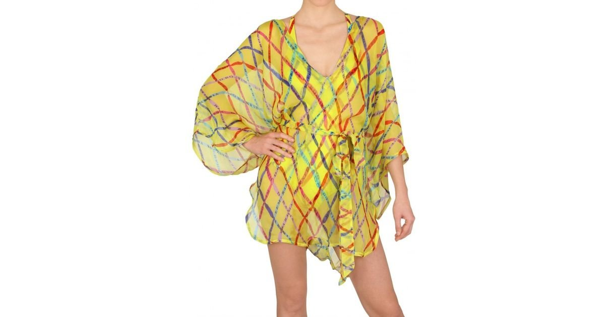 7d91ff897a15 Lyst - Magda Gomes Beachwear Printed Kaftan Cover Up Dress in Yellow