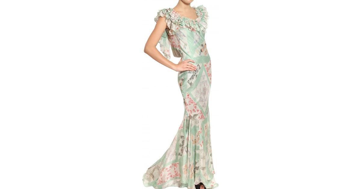 Lyst - John Galliano Patchwork Print Silk Chiffon Dress