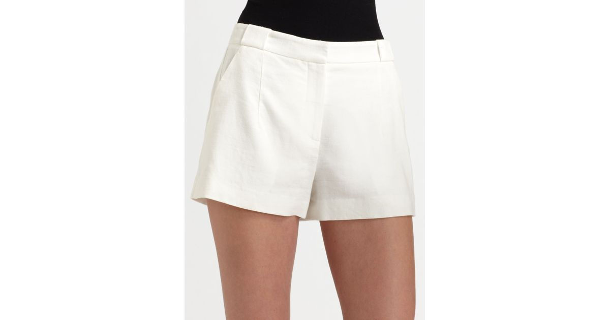 ac0d437773d Theory White Linen Shorts in Natural - Lyst