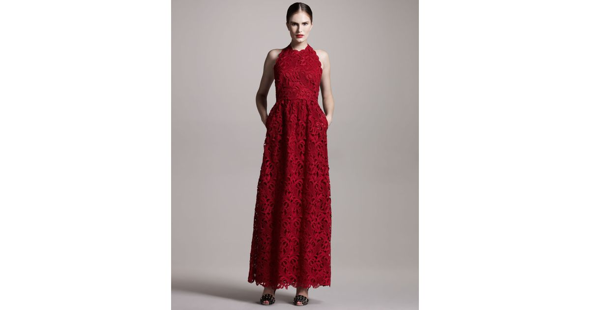 Lyst - Valentino Lace Halter Gown in Red