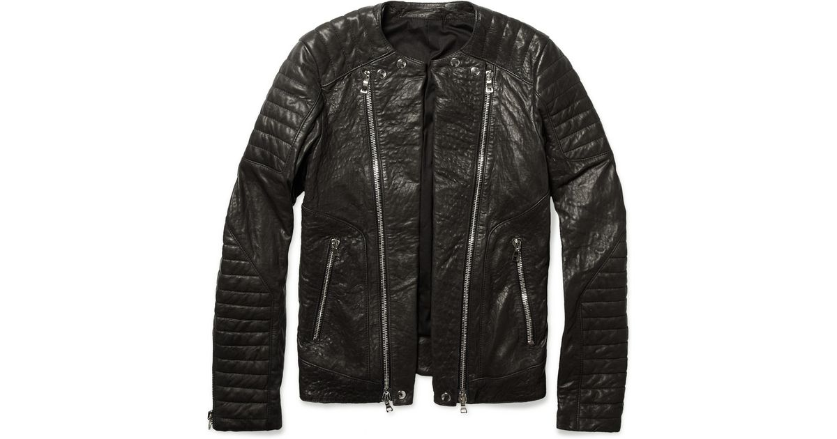 Balmain Zipped Padded Leather Biker Jacket In Brown For Men Lyst