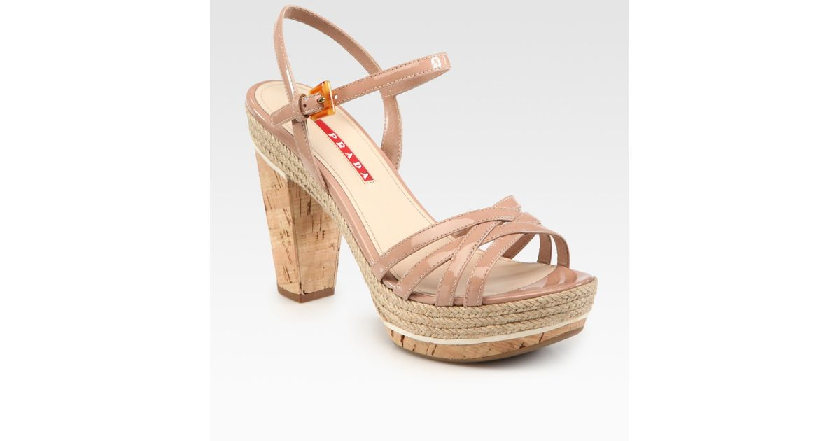 6ecb55d3aa8 Lyst - Prada Patent Leather and Cork Platform Sandals in Natural