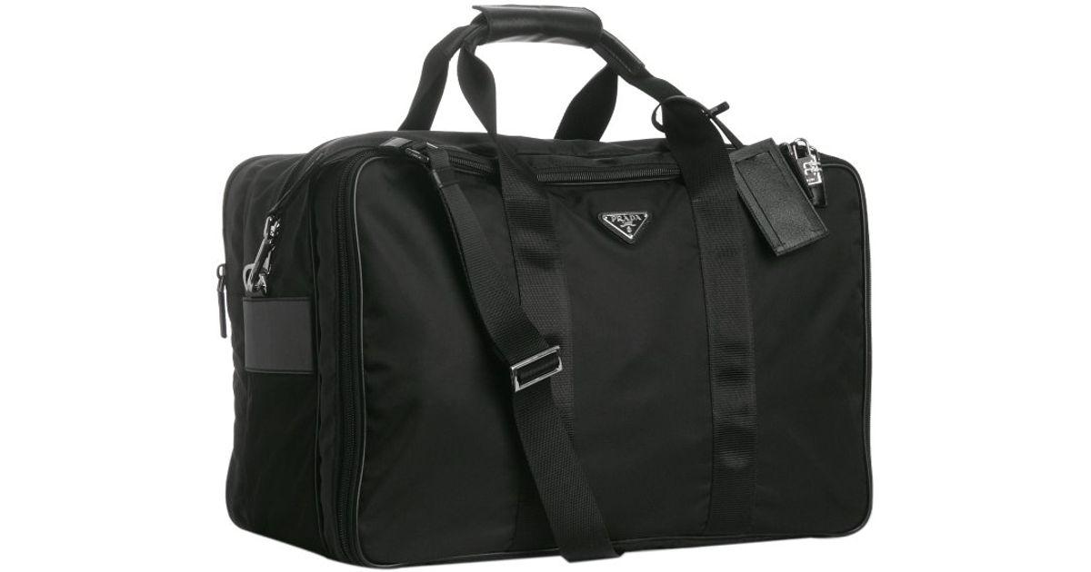 3d480f721f44 ... low cost prada black nylon large travel bag in black for men lyst 7b8f0  94d11