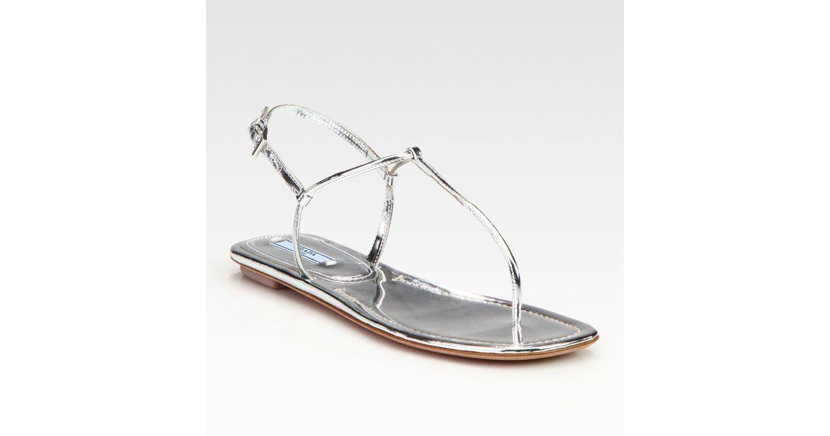 7e4e12226 Lyst - Prada Metallic Leather Thong Flat Sandals in Metallic