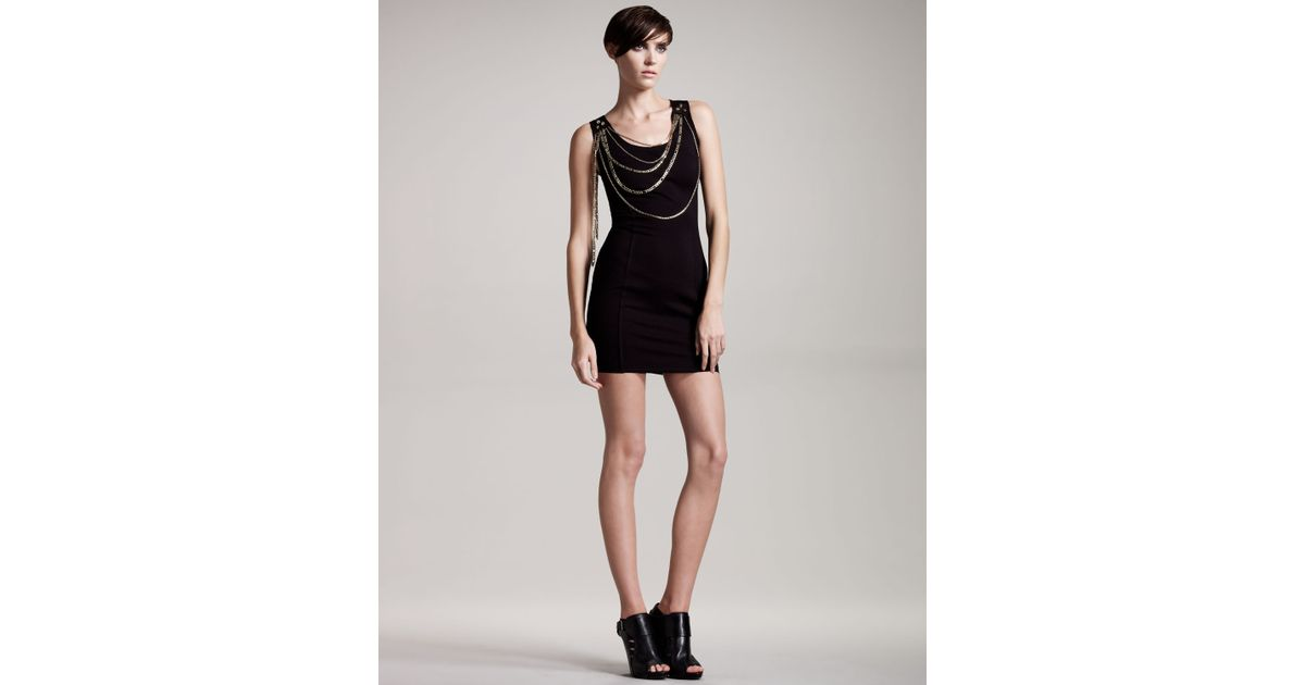 Lyst Balmain Sleeveless Chain Dress In Black