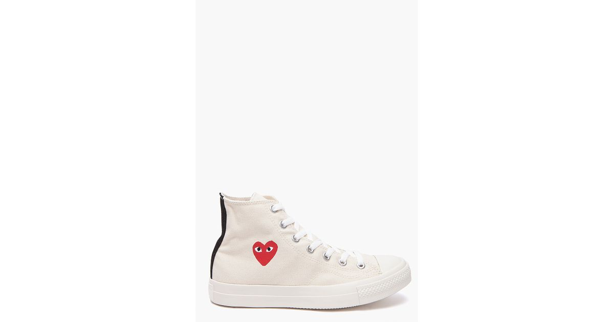 Lyst - Play Comme des Garçons Converse Red Heart Sneakers in White for Men 08dab2226