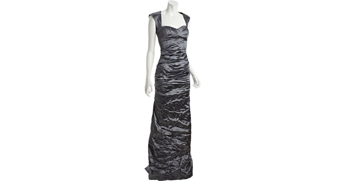 Lyst - Nicole Miller Slate Metallic Ruched Fishtail Evening Gown in Gray