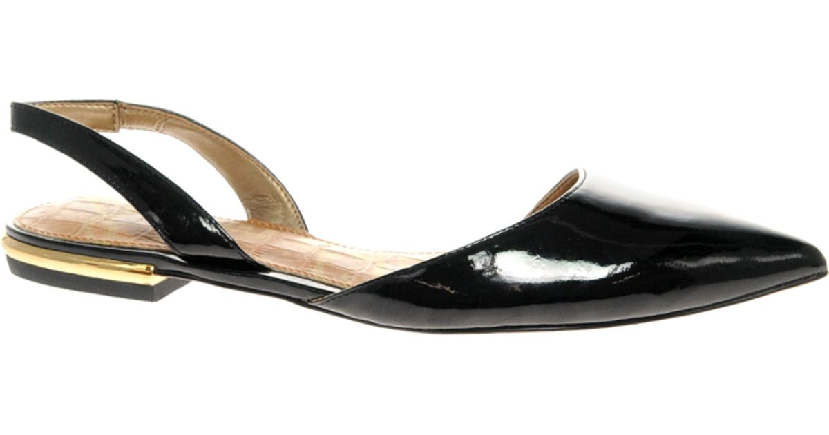 Lyst - Sam Edelman Harper Pointed Patent Flat Slingbacks in Black