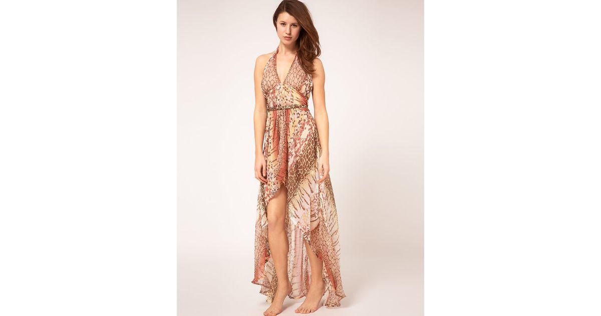 48adc1e4a42d Lyst - River Island Animal Print Chiffon Halter Maxi Dress in Brown