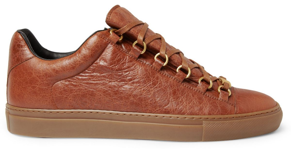 765ec884c994 Balenciaga Arena Creased Leather Sneakers in Brown for Men - Lyst