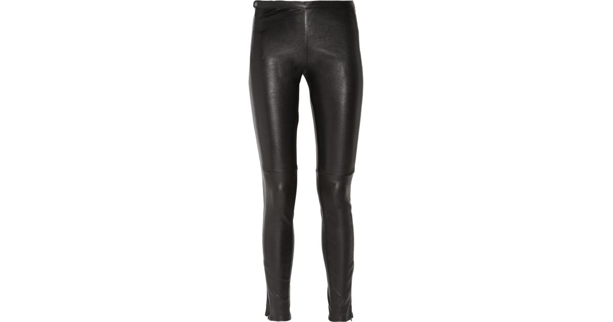 35ba5ebfc5a7ae Sandro Paneled Stretch-Leather Leggings in Black - Lyst