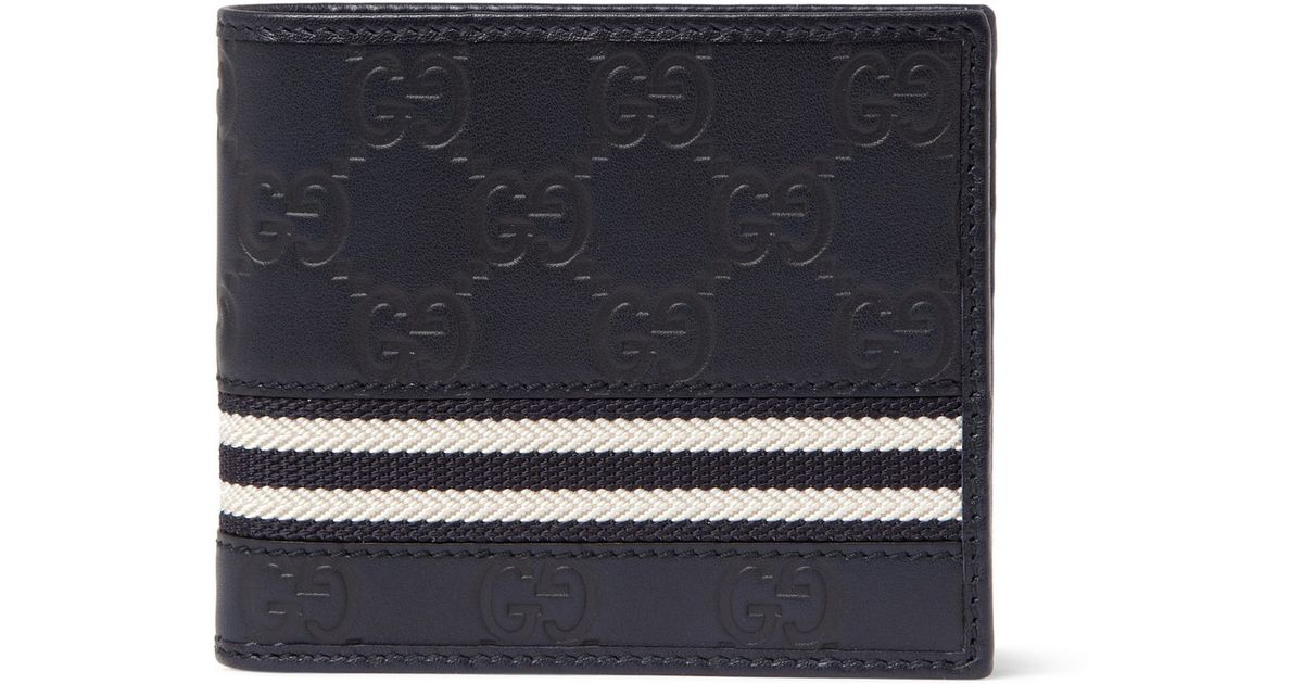 82cd5bc3d0ca Gucci Embossed Leather Billfold Wallet in Blue for Men - Lyst