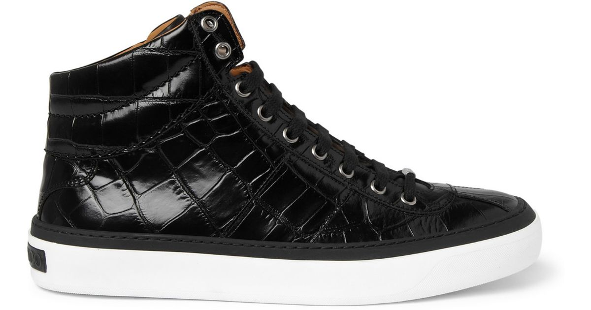 4f0f636711a Lyst - Jimmy Choo Belgravia Crocodile-embossed Leather High Top Sneakers in  Black for Men
