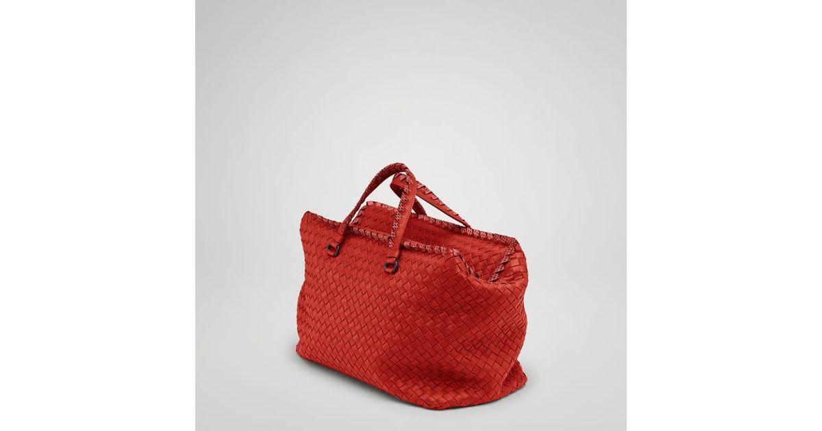 Lyst - Bottega Veneta Fire Intrecciato Nappa Ayers Brick Bag in Red cb910bdad617a