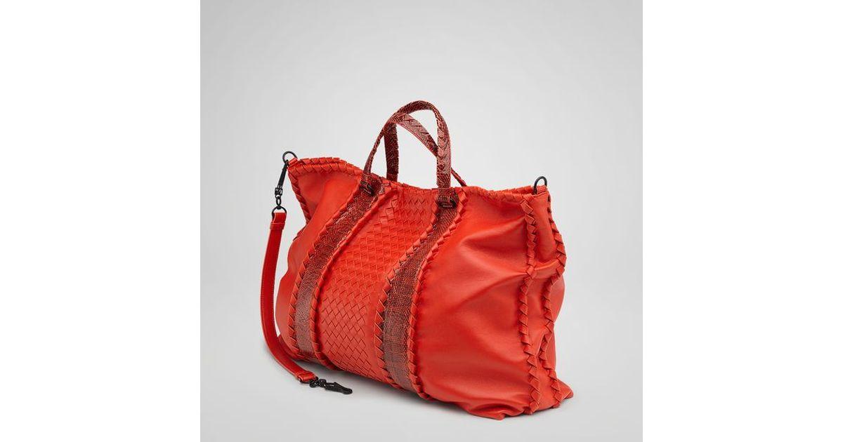 Lyst - Bottega Veneta Fire Nappa Ayers Bag in Red 2ab043a61578b