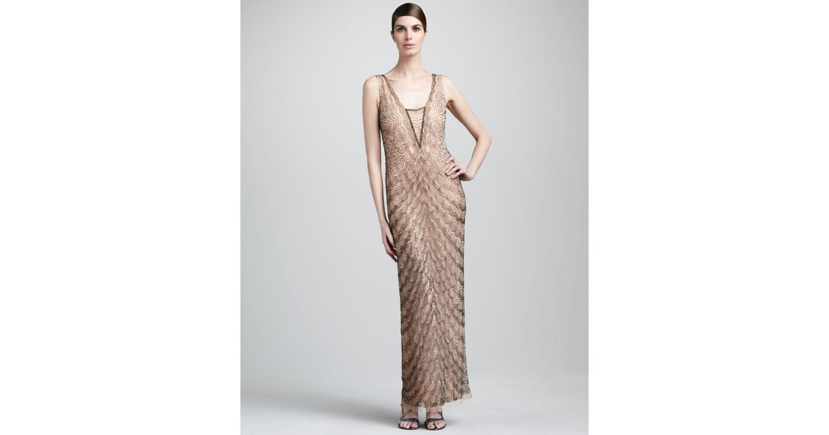 Lyst - Aidan Mattox Scallop-beaded Gown in Metallic