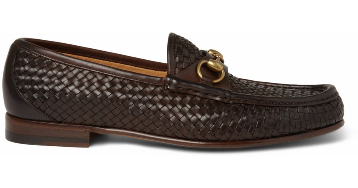 Gucci Woven Leather Horsebit Loafers In Brown For Men