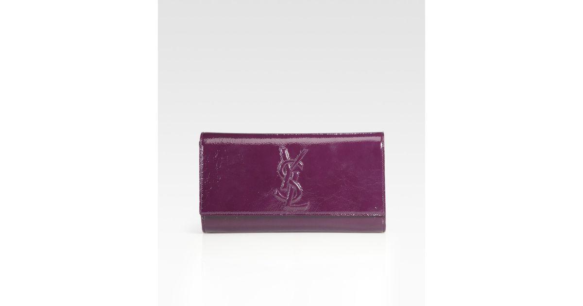 ed2749272d9c Saint Laurent - Purple Large Patent Leather Clutch - Lyst