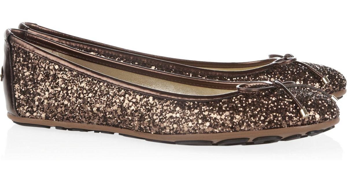 01fc8a1406d Lyst - Jimmy Choo Walsh Glitter-finish Leather Ballet Flats in Metallic