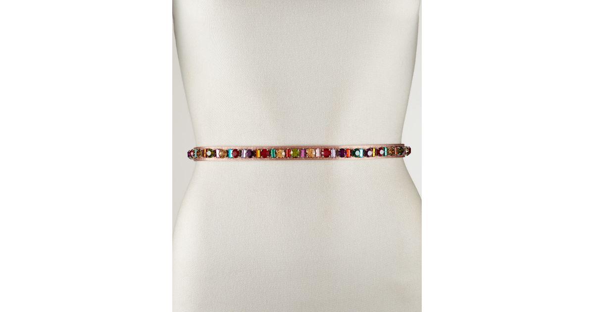 Prada Jeweled Belt in Brown (80cm) | Lyst