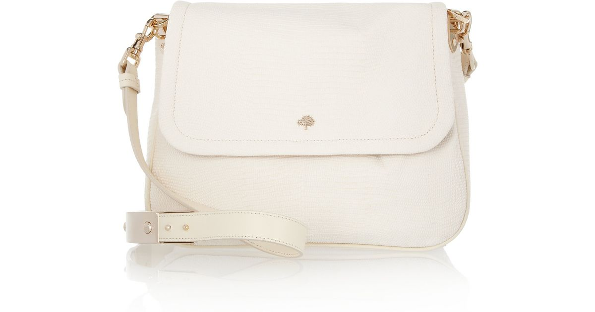 998bbaa1ec Lyst - Mulberry Evelina Lizardeffect Leather Shoulder Bag in White