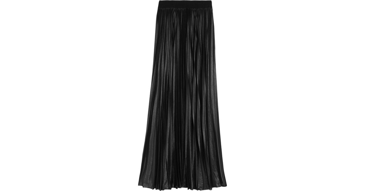 19f458ba082c BCBGMAXAZRIA Pleated Chiffon Maxi Skirt in Black - Lyst