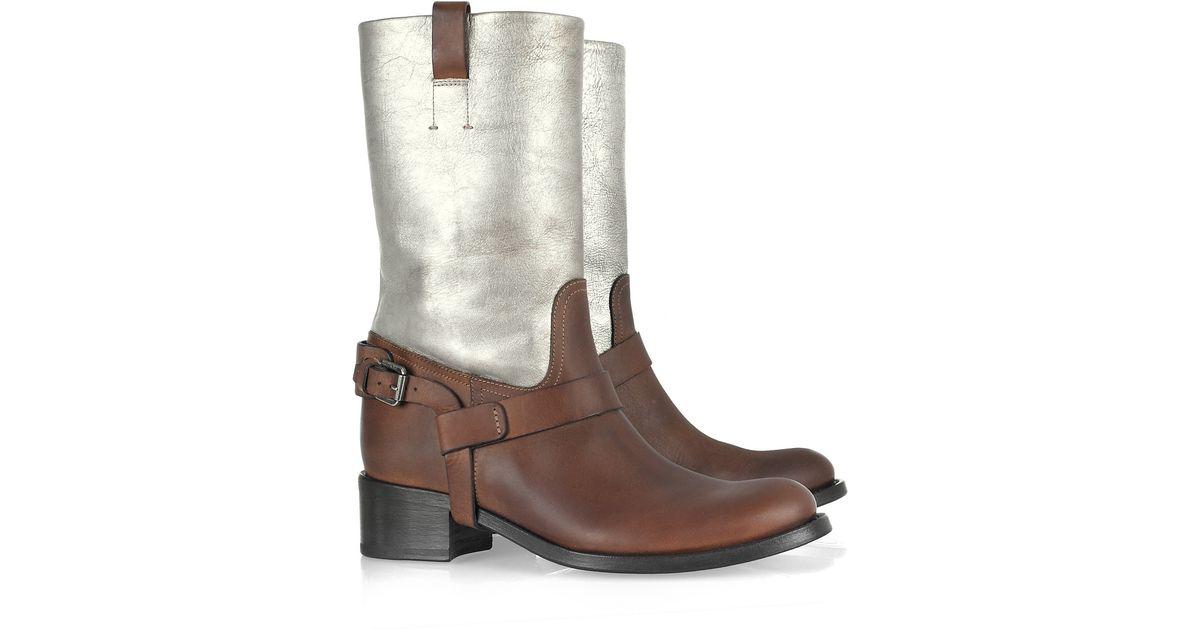 Ralph lauren collection Istara Metallic Leather Boots in Brown   Lyst