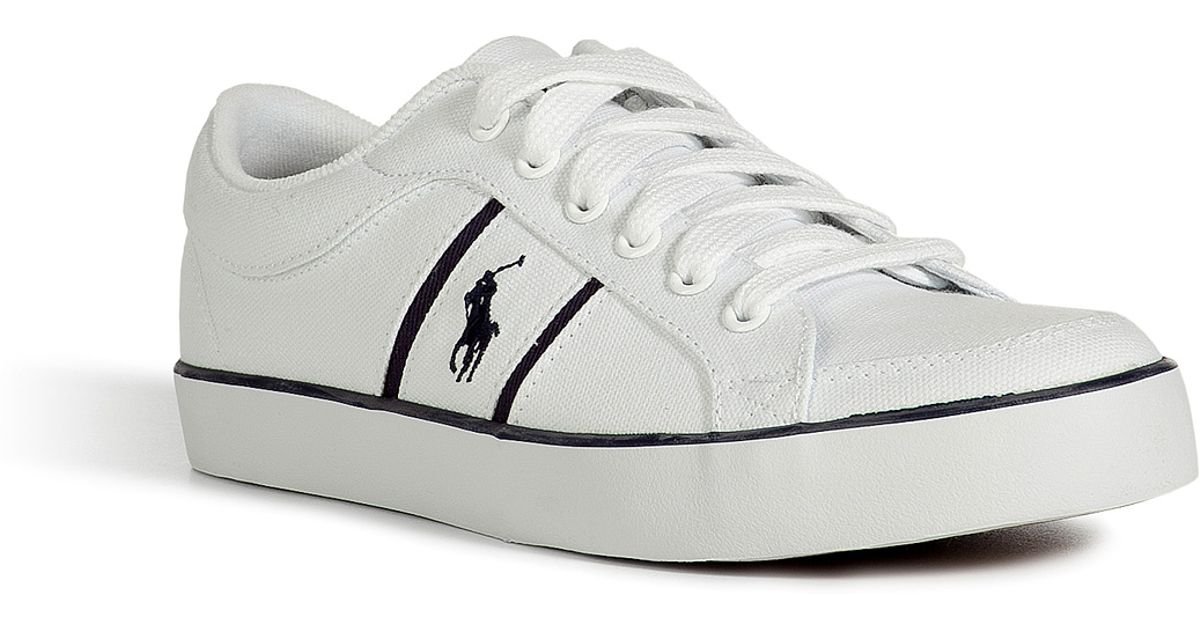 Polo ralph lauren Pure White Canvas Bolingbrook Sneakers in White for Men | Lyst