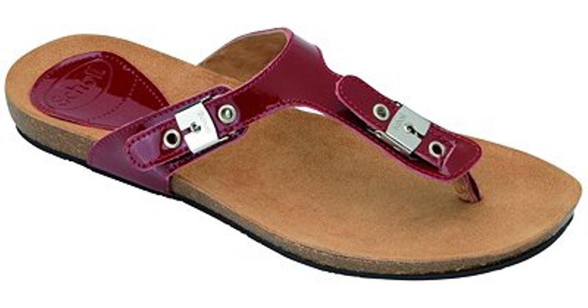 f2cf990c4b4e Scholl New Bimini Leather Buckle Toe Post Sandals Cherry in Red - Lyst