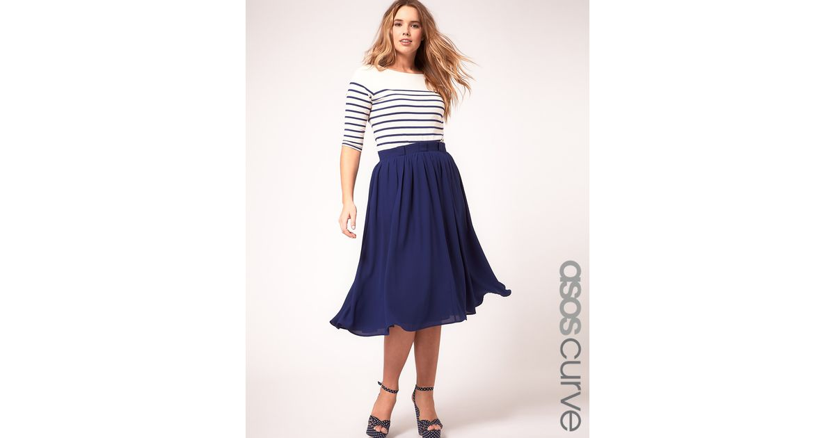7defc2eb5 ASOS Curve Midi Skirt With Paperbag Waist in Blue - Lyst