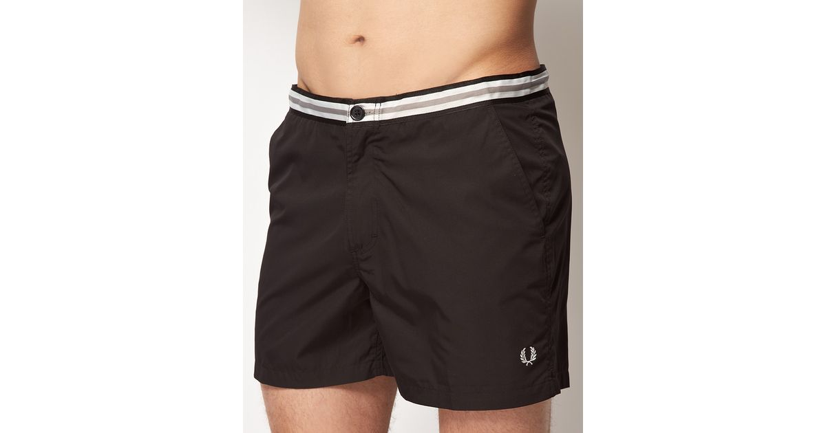 f5072091b5247 Fred Perry Waistband Tape Swim Shorts in Black for Men - Lyst
