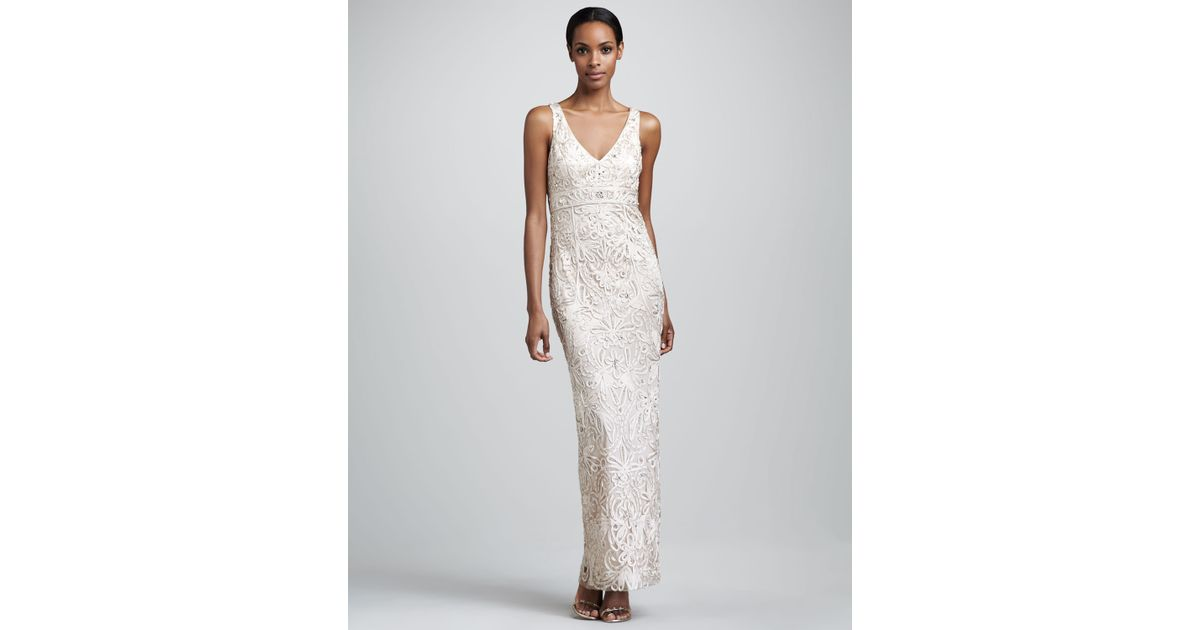 60b1202099c Lyst - Sue Wong Embroidered Vneck Gown in Metallic