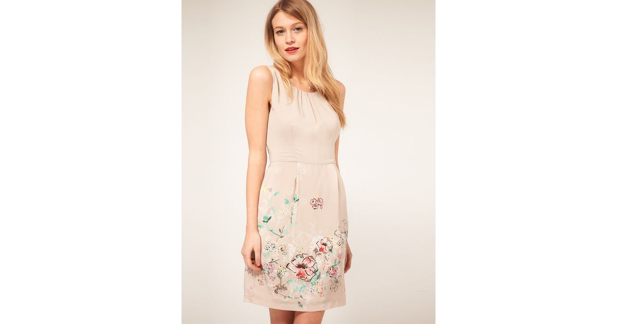 02d2727f77 Lyst - Darling Darling Floral Border Print Dress in Natural