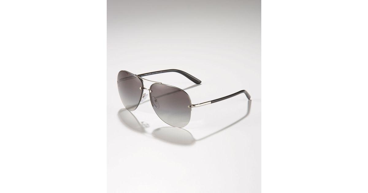 4d88272ccb7c Prada Metal Sport Aviator Sunglasses in Metallic for Men - Lyst