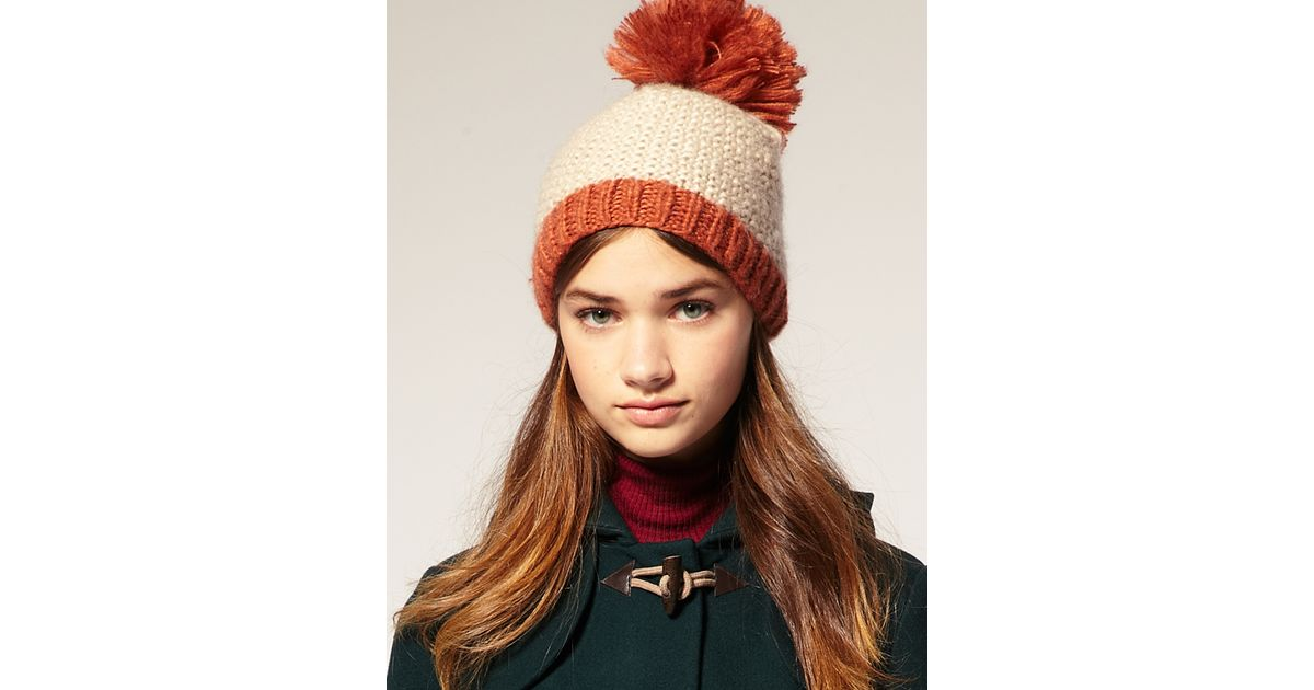 855ee64213c Lyst - Asos Collection Asos Oversized Bobble Hat in Natural