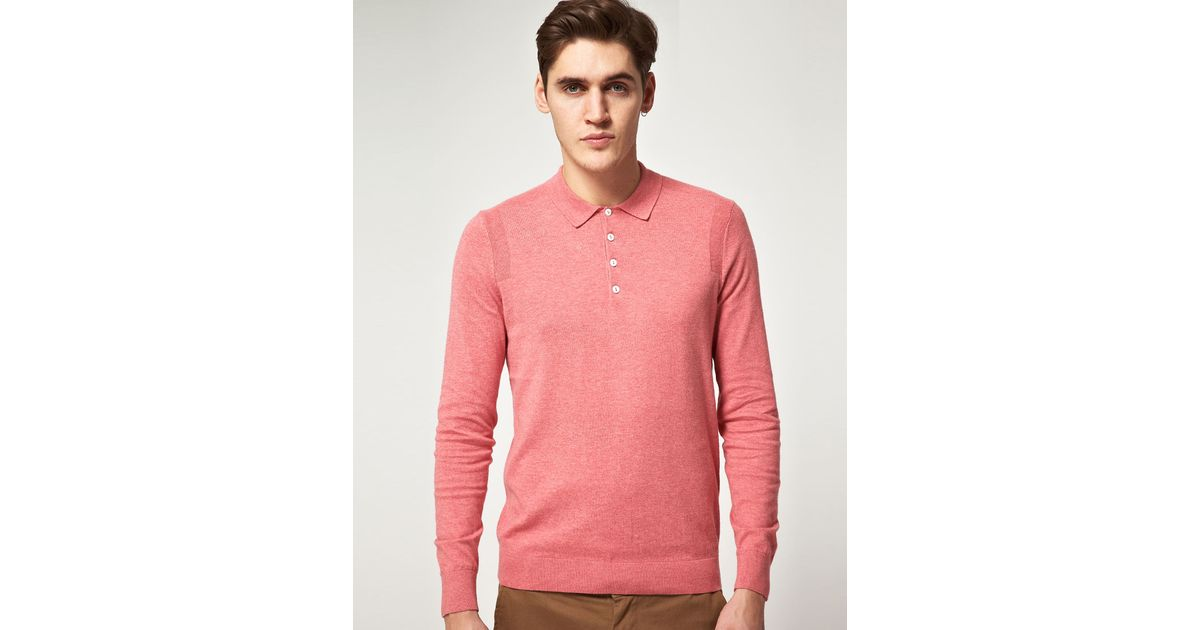 ccb8dffae1d68 ... inexpensive lyst ben sherman long sleeved polo shirt in pink for men  0983b e4919