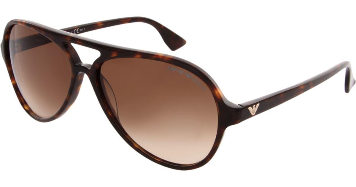 afb82cb749e Lyst - Emporio Armani Emporio Armani Aviator Sunglasses in Brown for Men