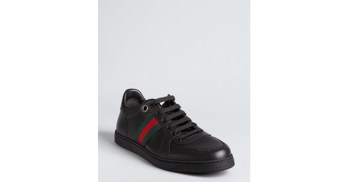 Web striped leather sneakers Gucci qgOnzKokS