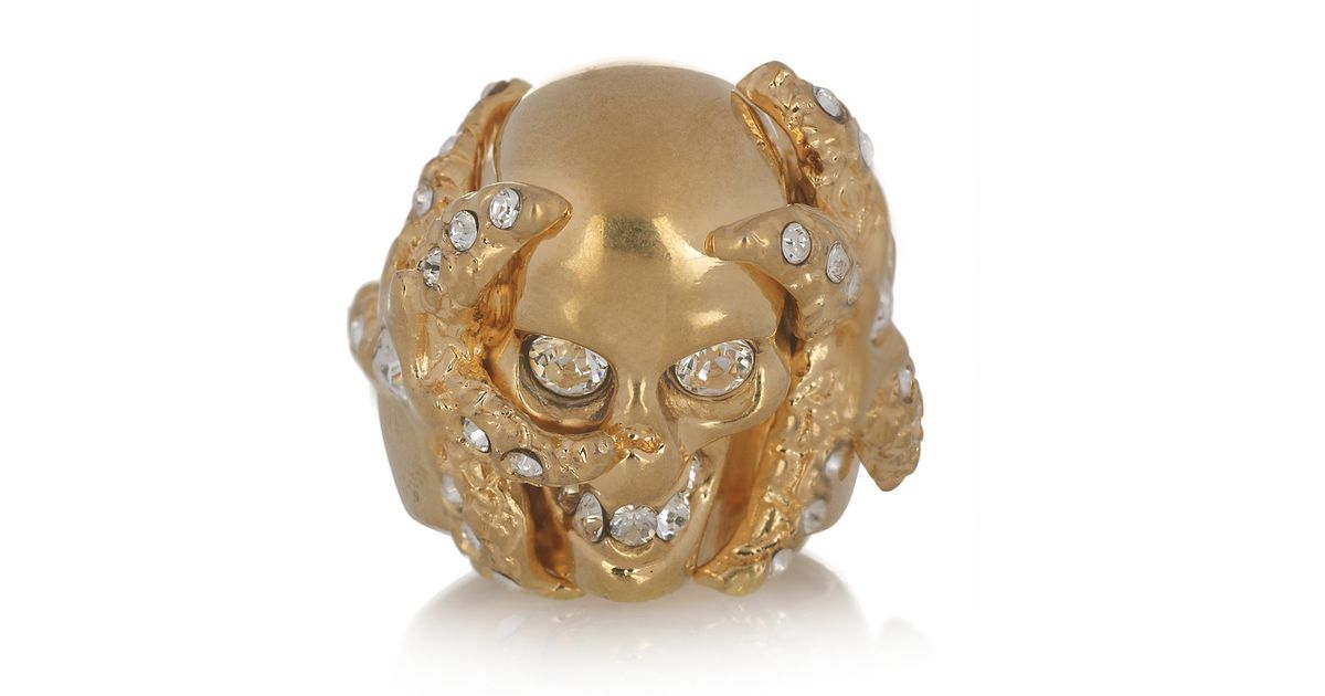 14fc5663f821c Alexander McQueen - Metallic Swarovski Crystal Skull and Starfish Ring -  Lyst