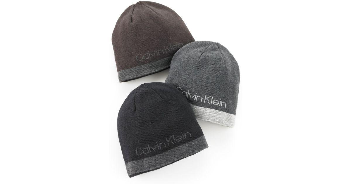 9748bbe4f5114 Lyst - Calvin Klein Jacquard Logo Reversible Hat in Gray for Men