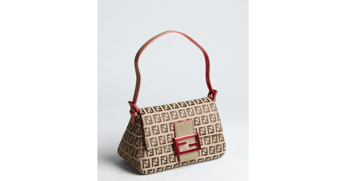 45dc54520d3 ... order lyst fendi beige and red zucchino canvas mama mini shoulder bag  in natural b86f1 de073