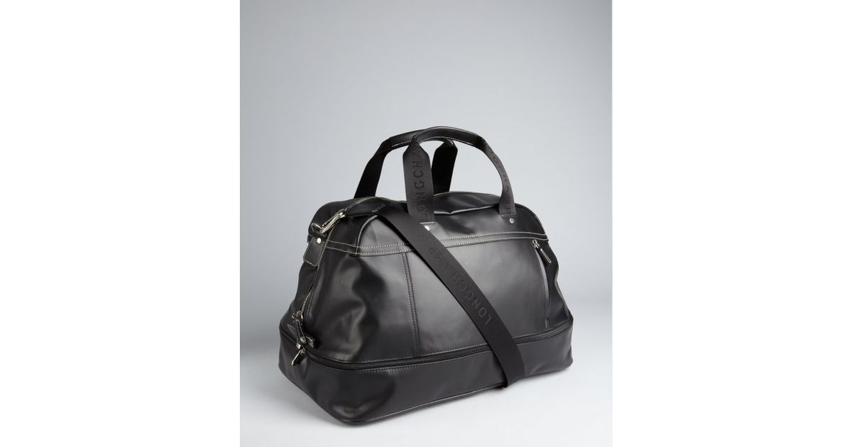 Longchamp Black Leather Structured Duffel Bag in Black | Lyst
