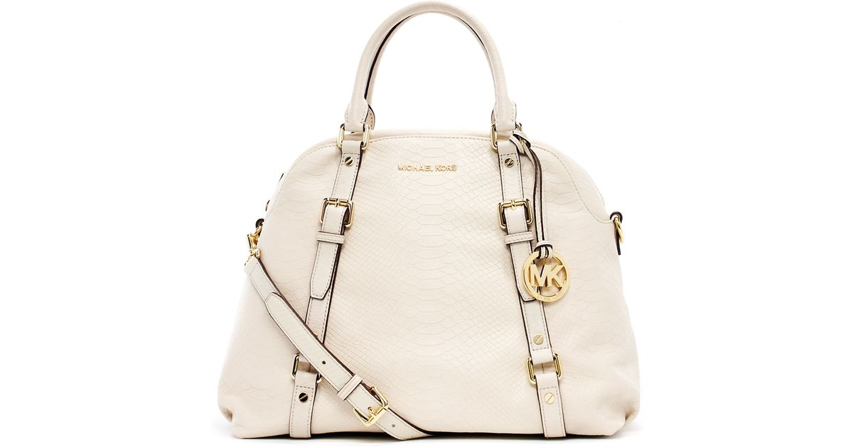 88476cb41df6 ... top quality lyst michael michael kors bedford extralarge bowling  satchel dove white in natural 45eac fc2c1