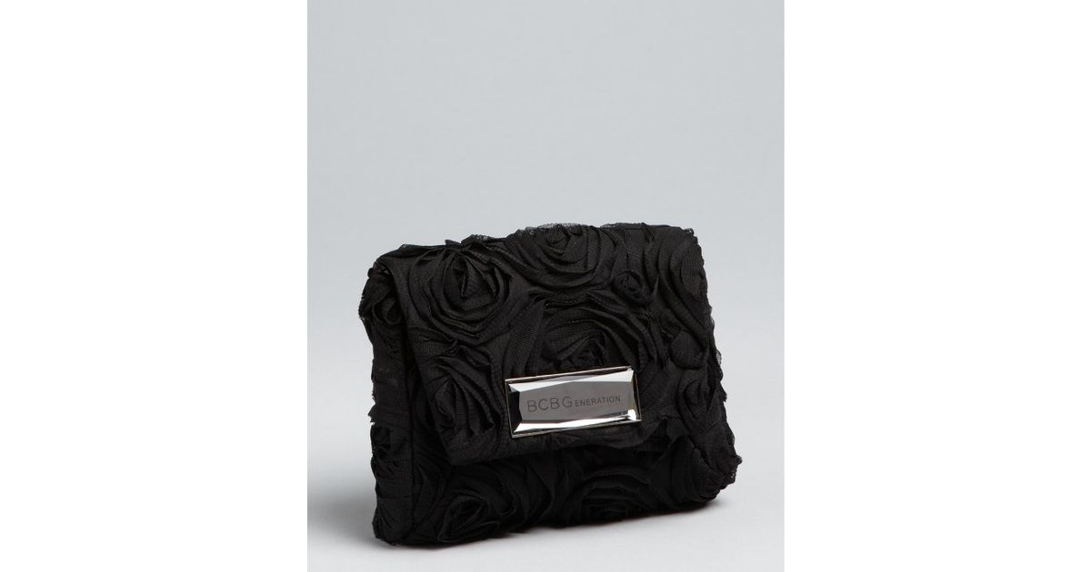 b4b6eb1012 Lyst - Bcbgeneration Black Mesh Rosette Crossbody Bag in Black