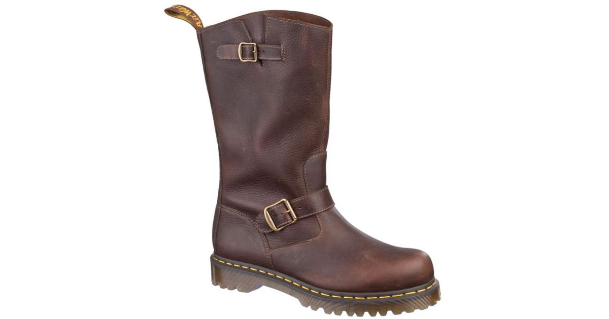 dr martens engineer boots in brown for lyst