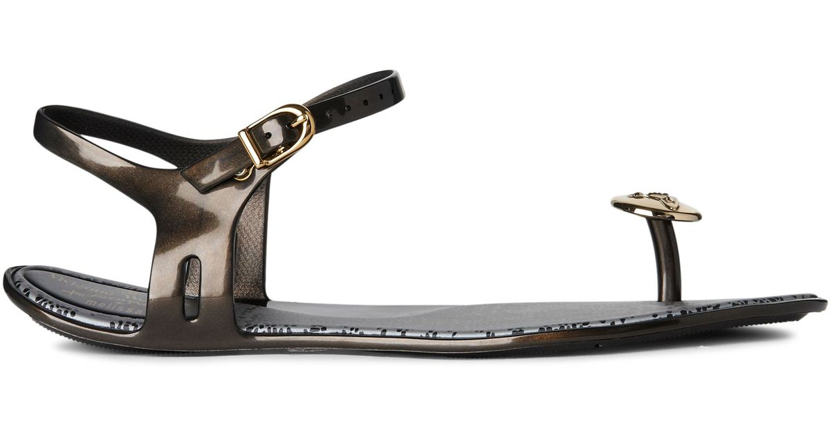 854176a25362b3 Melissa + Vivienne Westwood Anglomania Button Toepost Sandals in Black -  Lyst