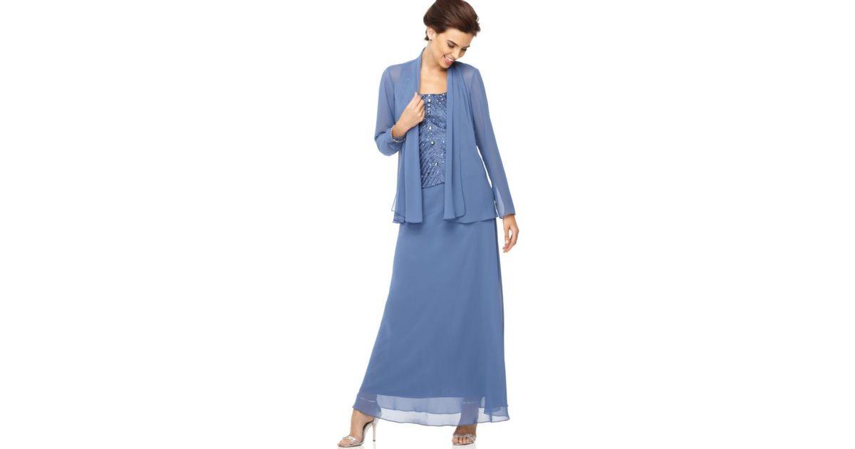 Patra Blue Beaded Bodice Evening Dress Lyst