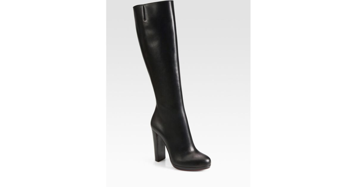 christian louboutin black leather knee high boots