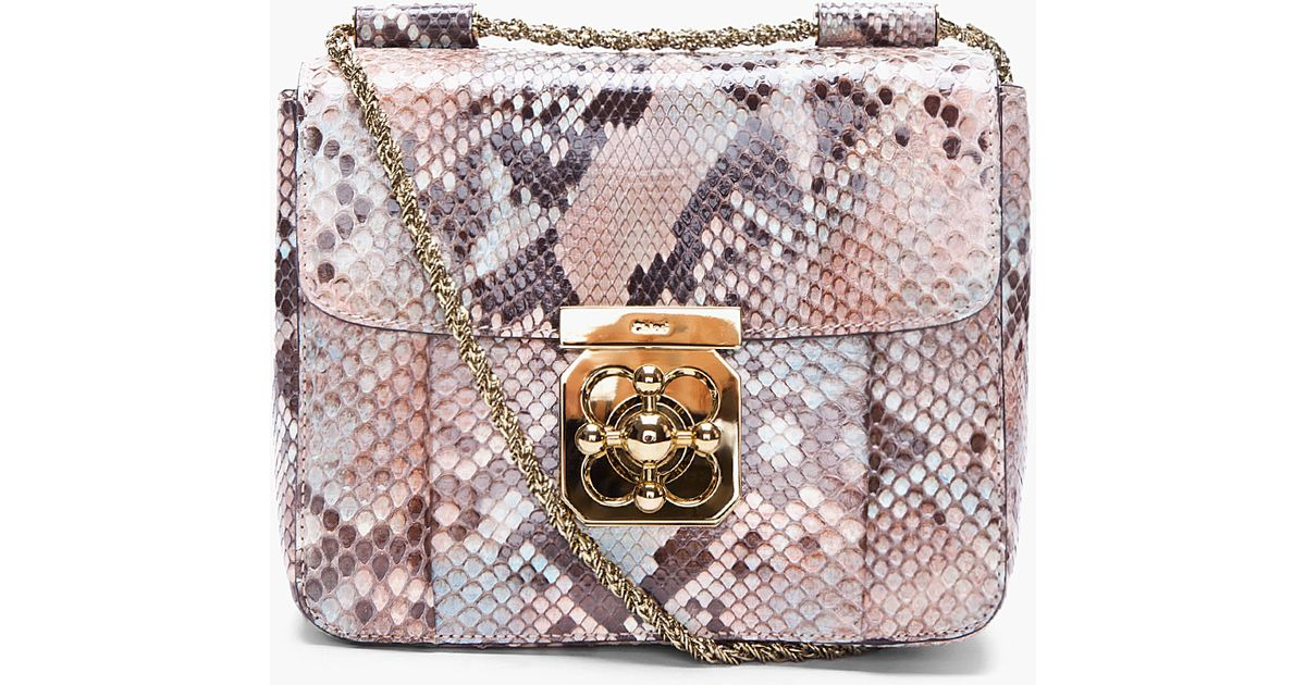 Chlo¨¦ Python Skin Elsie Evening Bag in Animal (taupe)   Lyst